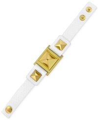 Vince Camuto Gold Tone Textured Leather Stud Snap Bracelet