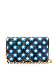 Miu Miu Star Print Canvas And Leather Cross Body Bag Blue Multi