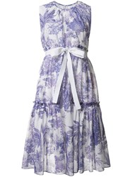 Rochas Printed Flared Dress Pink Purple