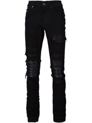 Amiri Ripped Fitted Jeans Black