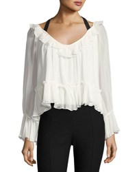 Cinq A Sept Amina Tie Back Silk Ruffle Blouse Ivory Black White Black