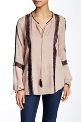 Twelfth St. By Cynthia Vincent Poet Lace Silk Blouse Pink