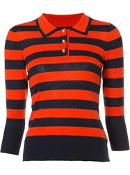 Frame Denim Striped Collar Jumper Red