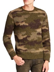 Polo Ralph Lauren Camouflage Leather Trimmed Wool Crewneck Sweater Green Camo