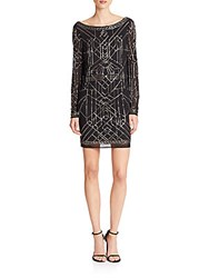 Laundry By Shelli Segal Platinum Athena Beaded Mesh Cocktail Dress Black