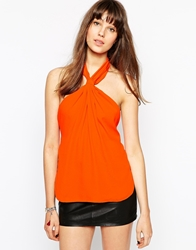 Boulee Lexi Backless Twist Knot Halterneck Top With Belt Fastening Orange