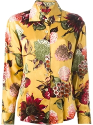 Kenzo Vintage Floral Print Shirt Yellow And Orange