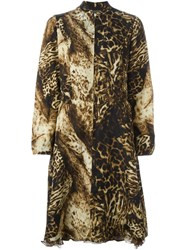 Kenzo Vintage Leopard Print Dress Nude And Neutrals