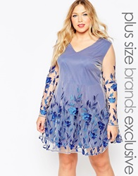 Truly You Contrast Mesh Skater Dress With Floral Applique Blue