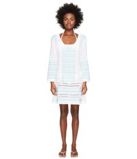 Letarte Embroidered Long Sleeve Tunic Dress White Multi