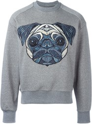 Juun.J Embroidered Dog Sweatshirt Grey