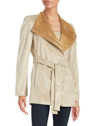 Calvin Klein Oversized Collar Belted Coat Latte