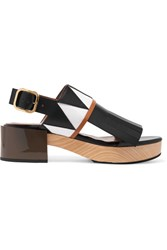 Marni Fringed Smooth And Patent Leather Slingback Sandals Black