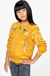 Boohoo Boutique Embroidered Bomber Mustard