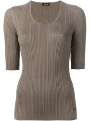 Akris Ribbed T Shirt Brown