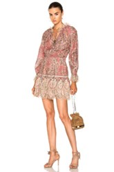 Zimmermann Tulsi Paisley Mini Dress In Floral Neutrals Red Floral Neutrals Red