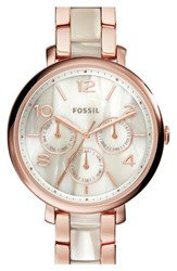 Women's Fossil 'Jacqueline' Chronograph Bracelet Watch 36Mm Rose Gold Shimmer Horn