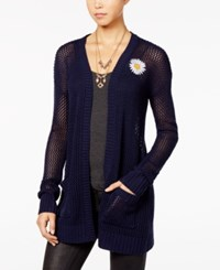 Ohmg Juniors' Open Knit Patch Cardigan Navy