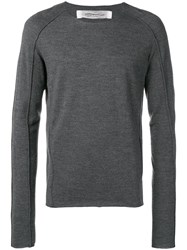 Individual Sentiments Round Neck Fine Knit Sweater Grey