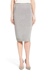Women's Halogen Texture Knit Pencil Skirt Black White Marl
