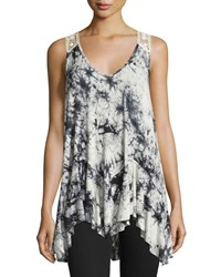 Romeo And Juliet Couture Tie Dye Lace Back Tank Black White