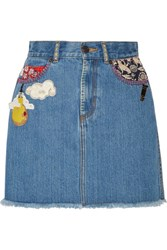 Marc Jacobs Embellished Frayed Denim Mini Skirt Mid Denim