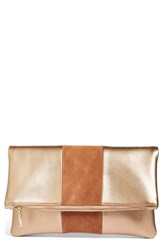 Bp. Tonal Stripe Foldover Clutch Pink Rose Gold