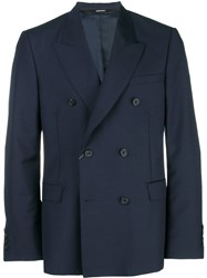 Alexander Mcqueen Double Breasted Suit Jacket Blue