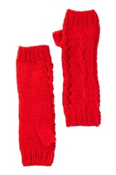 Nine West Cable Knit Open Weave Fingerless Gloves Red