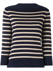 Woolrich Boat Neck Striped Jumper Blue