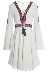 Matthew Williamson Lace Up Pom Pom Trimmed Embroidered Cotton Gauze Dress Off White Off White