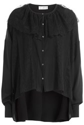 Faith Connexion Silk Blouse With Lace Cape Black