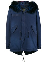 Mr And Mrs Italy Fur Trim Parka Coat Blue