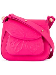 Sophia Webster Butterfly Embossed Shoulder Bag Women Calf Leather Polyester One Size Pink Purple