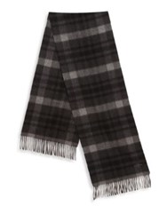 Hickey Freeman Plaid Cashmere Scarf Charcoal Black Navy Black