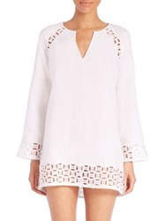 Tory Burch Embroidered Linen Cutout Tunic