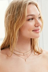 Urban Outfitters Avery Layering Chain Necklace Set Dark Yellow