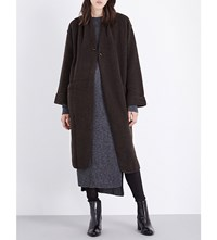 Isabel Benenato Split Back Wool Blend Coat Darkwood