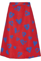 Etre Cecile Printed Bonded Jersey Midi Skirt Red