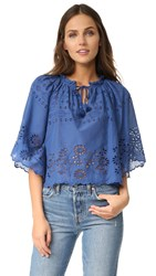 Sea Flutter Sleeve Peasant Top Blue