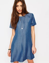 Abercrombie And Fitch Denim Shift Dress Denim Blue