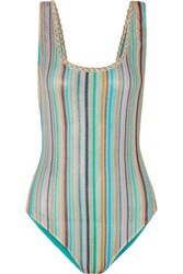 Missoni Mare Riga Metallic Crochet Knit Swimsuit Blue