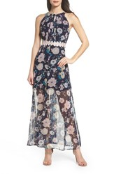 Foxiedox Brylee Floral Print Maxi Dress Brylee Navy Multi