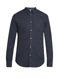 Maison Martin Margiela Single Cuff Spread Collar Cotton Shirt Dark Blue