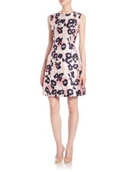 Oscar De La Renta Brushstroke Floral Print Mikado Dress Light Pink Navy