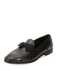 Salvatore Ferragamo Mercer 2 Crocodile Formal Loafer With Bow Detail Black
