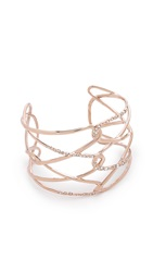 Alexis Bittar Scattered Crystal Barbed Cuff Rose Gold Clear