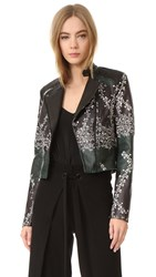 Yigal Azrouel Printed Leather Jacket Jet Multi