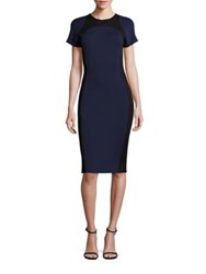 St. John Sculpture Knit Colorblock Dress Navy