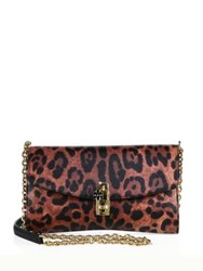 Dolce And Gabbana Leopard Print Leather Chain Clutch Brown